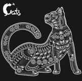 Katt, dekorativ modell för en tatuering eller stencil Arkivbilder