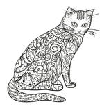 Katt Designzentangle royaltyfri illustrationer