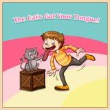 katt din fången tunga Arkivfoto