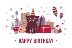 Katt för önska för lycklig födelsedag svart och för rolig tecknad film i partihattsammanträde mot gåvor, muffin, färgrika ballong vektor illustrationer