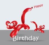 KATT för ballong för kort för lycklig födelsedag stock illustrationer