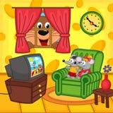 Katt för television för mus som hållande ögonen på hemmastadd kikar till och med fönster