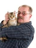 katt hans gammala man Royaltyfri Foto