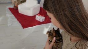 Katt i armarna av flickan lager videofilmer
