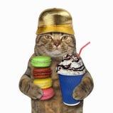 Katt i guld- lock med kaffe och kex royaltyfri fotografi