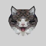 Katt i polygonal stil Triangelvektorillustration av djuret för bruk som ett tryck på t-skjortan och affischen vektor illustrationer