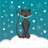 Katt i snön Vektor Illustrationer