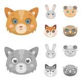 Katt kanin, räv, får Djuret tystar ned fastställda samlingssymboler i tecknade filmen, monokrom illustration för materiel för sti Royaltyfria Bilder