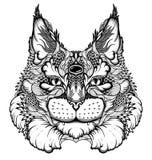 Katt-/lodjurhuvudtatuering psykedelisk/zentanglestil Arkivfoton