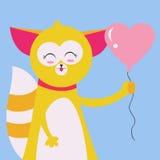 Katt med ballongen Arkivbild