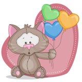 Katt med baloons Arkivbild