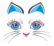 Katt med blåa öron Royaltyfri Fotografi