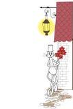Katt med blommor royaltyfri illustrationer