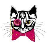 Katt med en pilbåge Royaltyfri Bild