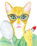 Katt med exponeringsglas Arkivfoto