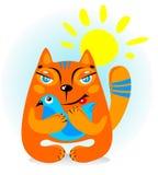Katt med fågeln Royaltyfria Bilder