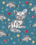 Katt med fisken omkring vektor illustrationer