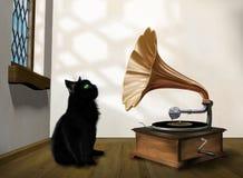 Katt med grammofonen Arkivbild