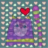 Katt med hjärta stock illustrationer