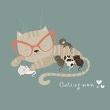 Katt med kattungar vektor illustrationer