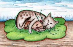 Katt med kattungen på en grön pläd med blommalandskap Royaltyfri Bild