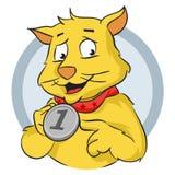 Katt med medaljen Royaltyfri Fotografi