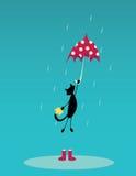 Katt med paraplyet Royaltyfri Fotografi