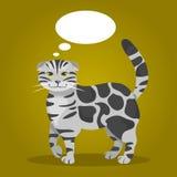 Katt med tankebubblor också vektor för coreldrawillustration Royaltyfria Bilder