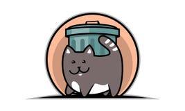 Katt och avfallkruka vektor illustrationer