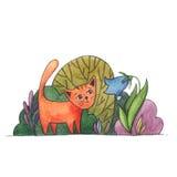 Katt och blomma i trädgården, vattenfärgillustration vektor illustrationer
