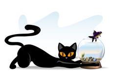 katt och fisk Royaltyfria Foton
