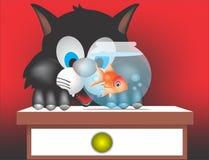 katt och fisk Arkivfoto