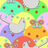 Katt och fjäril royaltyfri illustrationer
