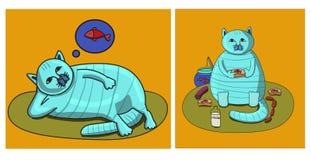 Katt och hans dröm royaltyfri fotografi