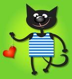 Katt och hjärta Arkivbild