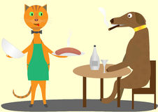 Katt och hund stock illustrationer