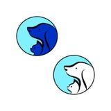 Katt och hund i en blå symbol royaltyfri illustrationer