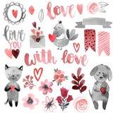 Katt och hund med hjärta och förälskelse stock illustrationer