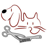Katt och hund som ansar logo stock illustrationer