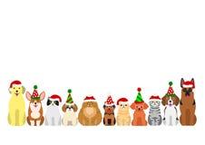Katt- och hundkapplöpninggränsuppsättning vektor illustrationer