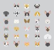 Katt- och hundkapplöpningsymbolssamling stock illustrationer