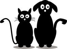 Katt- och hundsilhouette Royaltyfri Bild