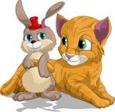 Katt och kanin Royaltyfri Fotografi