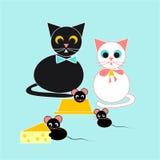 Katt- och musillustration Royaltyfria Foton