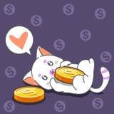 Katt och mynt i tecknad filmstil stock illustrationer