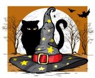 Katt- och trollkarlhatt för den grymma säger miniatyrreaperen halloween för kalenderbegreppsdatumet lyckliga holdingen scythestan royaltyfri illustrationer