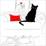 Katt på en säng Royaltyfri Fotografi