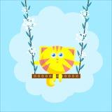 Katt på gungbrädet med blommor Arkivfoto