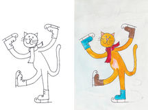 Katt på skridskor Arkivbild