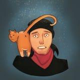 Katt på skuldran vektor illustrationer